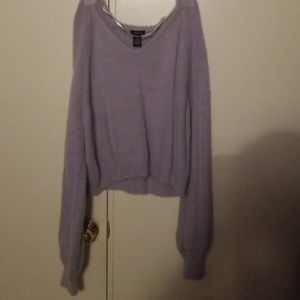 NWT lavender fuzzy cropped sweater